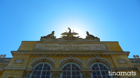 Gloriette inscription that you cannot see because of the backlight. Cool sky though, yes?