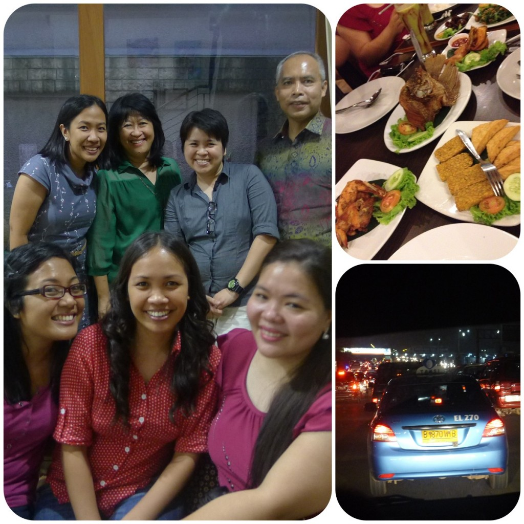 With Tito Romy and Tita Beth, our last Indonesian dinner and...Jakarta traffic.