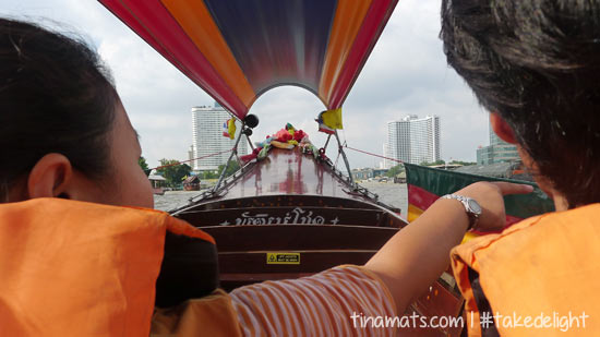 On the boat to Wat Arun - express way, which sort of felt like a scam. Or that may be because the people we talked to were quite brash. Heh. The boat ride was a little scary, though. (Also, we may have illusions of a perfectly peaceful river cruise. Haha)